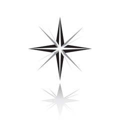 Star icon. Northern Star with shadow. Christmas Star on white background. Vector. Sparkle lights stars. North Star with rays and explosion vector, Morning star symbol. Inspiring Space star