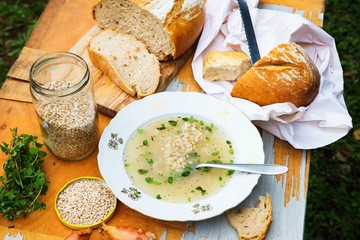 Soup with barley pear, bread, rural.