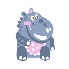 Cute cartoon Hippo character sitting on the floor vector Illustration