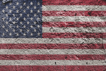 American flag painted on a concrete wall
