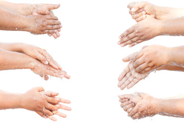Washing your hands step by step isolated