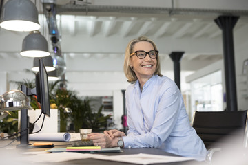 Mature businesswoman working in office, smiling