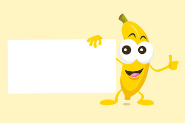 Illustration of cute banana mascot with offer label in his hand. Isolated on light background.