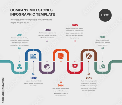 Vector Infographic Company Milestones Timeline Template Stock