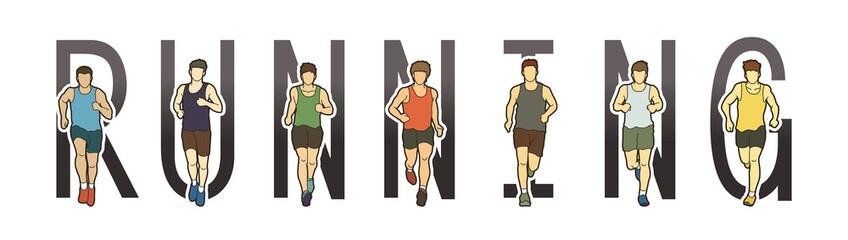 Running text font design, Marathon runners, Group of people running, Men running graphic vector.