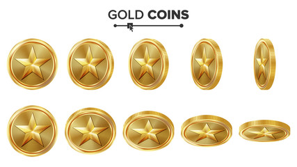 Game 3D Gold Coin Vector With Star. Flip Different Angles. Achievement Coin Icons, Sign, Success, Winner, Bonus, Cash Symbol. Illustration Isolated On White. For Web, Game Or App Interface.