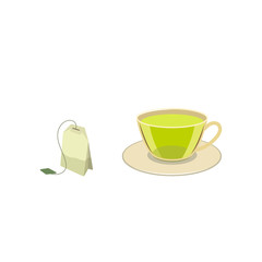 Vector cap of green tea with bag flat isolated illustration on a white background. Cartoon glass of green drink on the saucer, herbal tea bag. Healthy beverage, lifestyle concept
