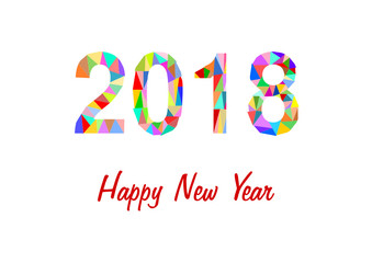 2018 aus bunten Dreiecken auf w Hintergrund mit Schriftzug Happy New Year