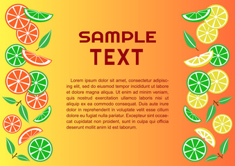 Colorful citrus background, vector illustration
