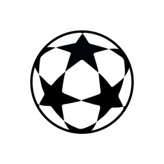 Soccer ball icon isolated. Football games symbol. Soccer ball logo for Brochure, flyer, banner graphic design. Soccer ball stars vector.
