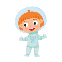 Standing astronaut kid isolated on white background. Cartoon pre