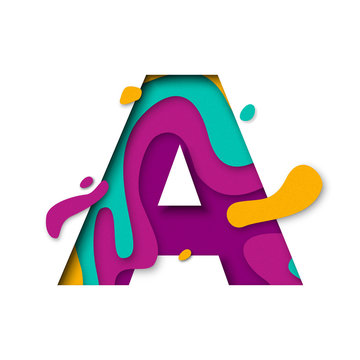Paper cut letter A. Realistic 3D multi layers papercut isolated white background