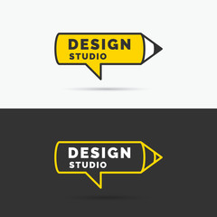 Conceptual logo and label Design studio. Vector graphics.