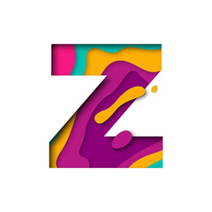 Paper cut letter Z. Realistic 3D multi layers papercut isolated white background