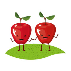 white background with realistic pair of apple fruits caricature over grass vector illustration