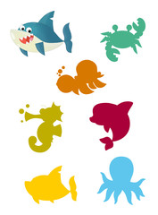 cartoon matching game with sea animals / colorful shapes - isolated illustration for children