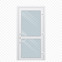 Plastic door with transparent glass window on simple background, vector illustration