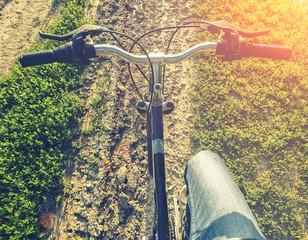 Cross country biking. Toned image