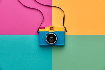Fashion Film Camera. Hot Summer Vibes. Pop Art. Creative Retro Design camera. Hipster Trendy...