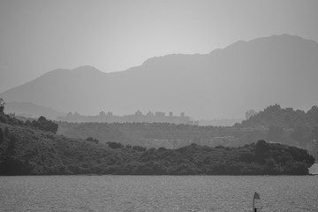 View From Hong Kong Plover Cove Reservoir: monochrome
