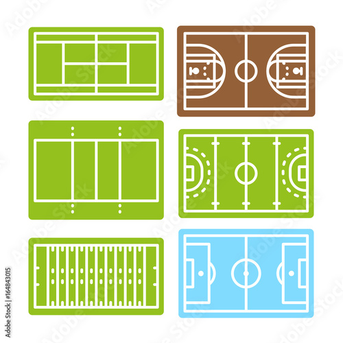 Football basketball soccer hockey tennis volleyball field arena football basketball soccer hockey tennis volleyball field arena court sport vector color line stroke icon set malvernweather Image collections