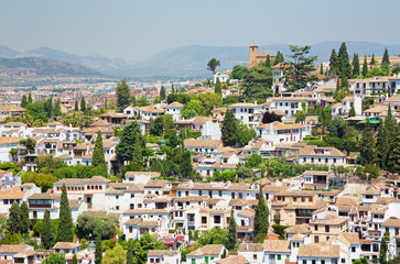 Granada - The look to The Albayzin district from Alhambra palace.