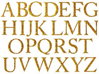 Vintage yellow mosaic font.