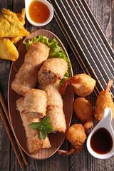 samosa, spring roll and fried shrimp