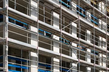construction site - scaffolding on building facade
