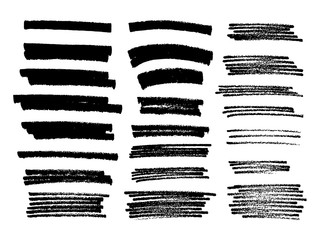 Set of black paint, ink brush strokes, brushes, lines. Dirty artistic design elements.