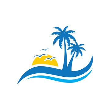 Palm tree wave travel logo vector image