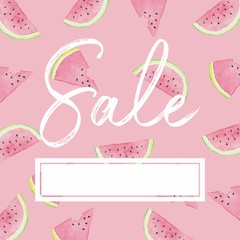 Watermelon Slices - Watercolor Sale Banner Pink Empty Template