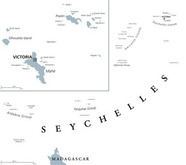 Seychelles political map with capital Victoria on the main island Mahe. Republic, archipelago and country in the Indian Ocean. Gray illustration isolated on white background. English labeling. Vector.