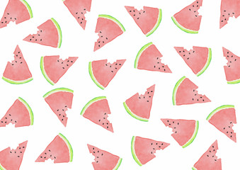 Watermelon Bitten Slices - Watercolor Background White