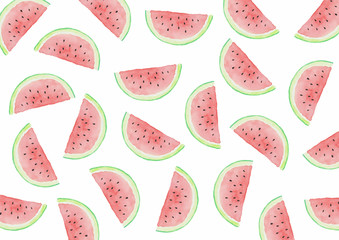 Watermelon Halves - Watercolor Background White