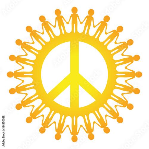 Friedenszeichen Mit Menschenkette Sonne Gelb Vektor Freigestellt
