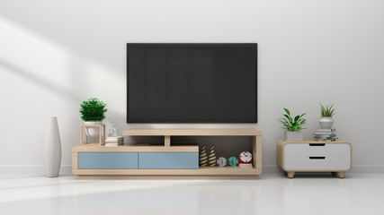 TV in modern empty room, 3d rendering