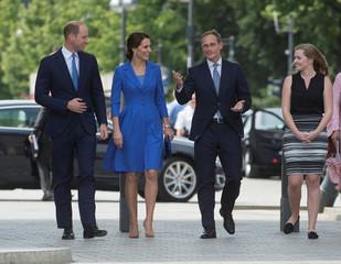 Britain's Prince William and Catherine, Duchess of Cambridge visit the Brandenburg Gate in Berlin