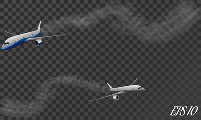 Vector Airplane with condensation trail illustration. Set