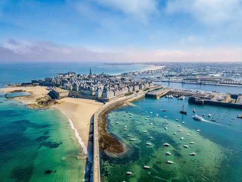 Aerial view of the beautiful city of Privateers on sunset- Saint Malo in Brittany, France