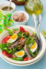 French salade niçoise with tuna, vegetables and anchovy