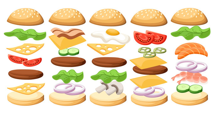 Set of delicious sandwich illustrations ss Burgers set. Ingredients: buns, cheese, bacon, tomato, onion, lettuce, cucumbers, pickle onions, beefs, ham. Vector icons isolated on white background