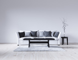 3d illustration of an empty white interior with a sofa, empty wall, minimalist living room