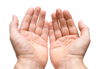 man's hands on white background