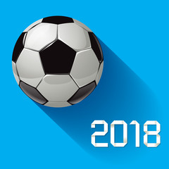 Soccer World Football Championship 2018 on a blue background.