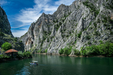 Fototapeta Motor boat in the lake of Canyon Matka in Macedonia obraz