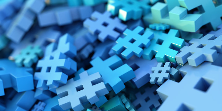 Infinite hashtag background, 3d rendering, technology and digital media concepts
