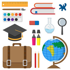 Vector illustration of Back to School. School accessories in flat style.