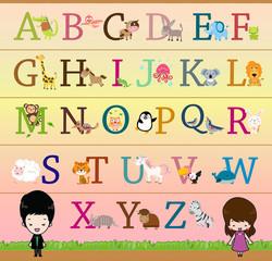 Animal Themed Alphabet A - Z Poster
