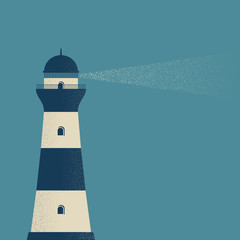 Old lighthouse at night grunge style. Vector illustration on a blue background.